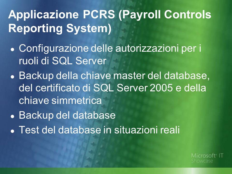 Applicazione PCRS (Payroll Controls Reporting System) Configurazione delle autorizzazioni per i ruoli di SQL Server Backup della chiave master del database, del certificato di SQL Server 2005 e della chiave simmetrica Backup del database Test del database in situazioni reali