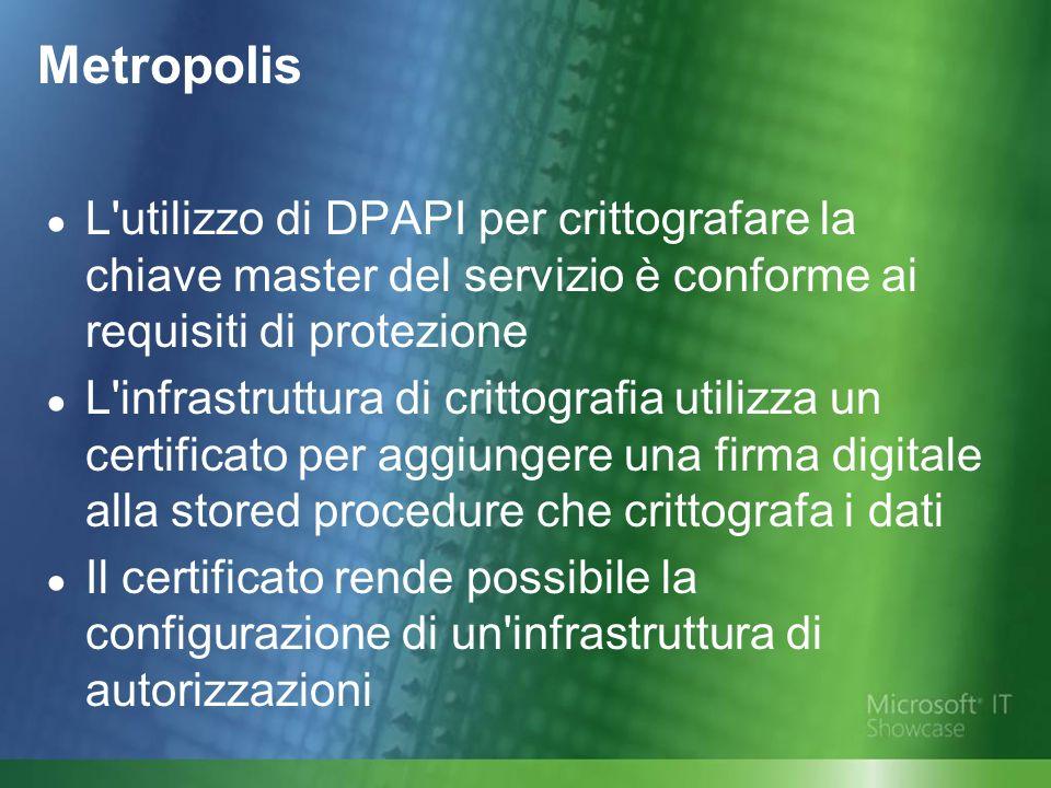 L utilizzo di DPAPI per crittografare la chiave master del servizio è conforme ai requisiti di protezione L infrastruttura di crittografia utilizza un certificato per aggiungere una firma digitale alla stored procedure che crittografa i dati Il certificato rende possibile la configurazione di un infrastruttura di autorizzazioni