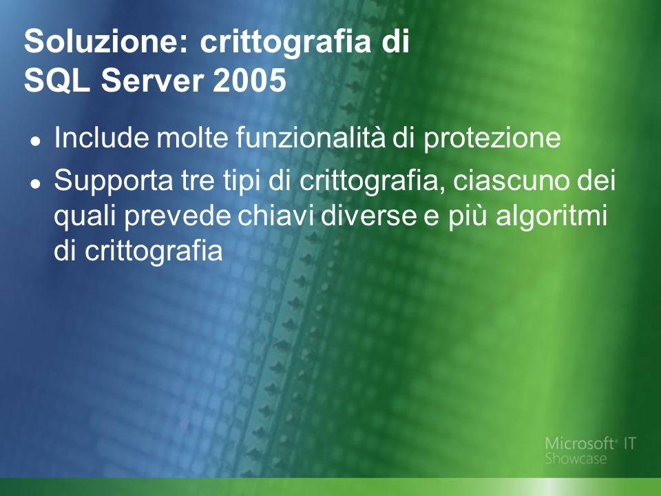 Soluzione: crittografia di SQL Server 2005 Include molte funzionalità di protezione Supporta tre tipi di crittografia, ciascuno dei quali prevede chiavi diverse e più algoritmi di crittografia