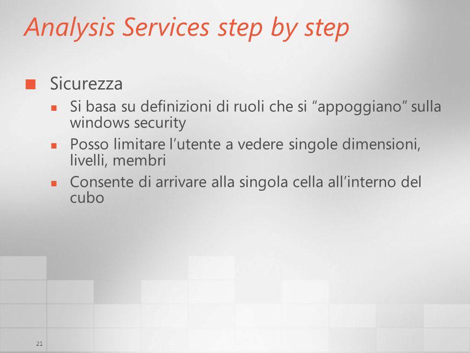 21 Analysis Services step by step Sicurezza Si basa su definizioni di ruoli che si appoggiano sulla windows security Posso limitare lutente a vedere s