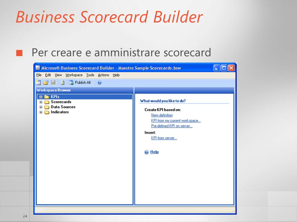 24 Business Scorecard Builder Per creare e amministrare scorecard