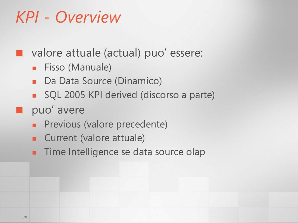 28 KPI - Overview valore attuale (actual) puo essere: Fisso (Manuale) Da Data Source (Dinamico) SQL 2005 KPI derived (discorso a parte) puo avere Previous (valore precedente) Current (valore attuale) Time Intelligence se data source olap