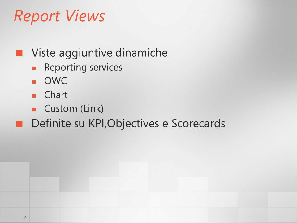 35 Report Views Viste aggiuntive dinamiche Reporting services OWC Chart Custom (Link) Definite su KPI,Objectives e Scorecards