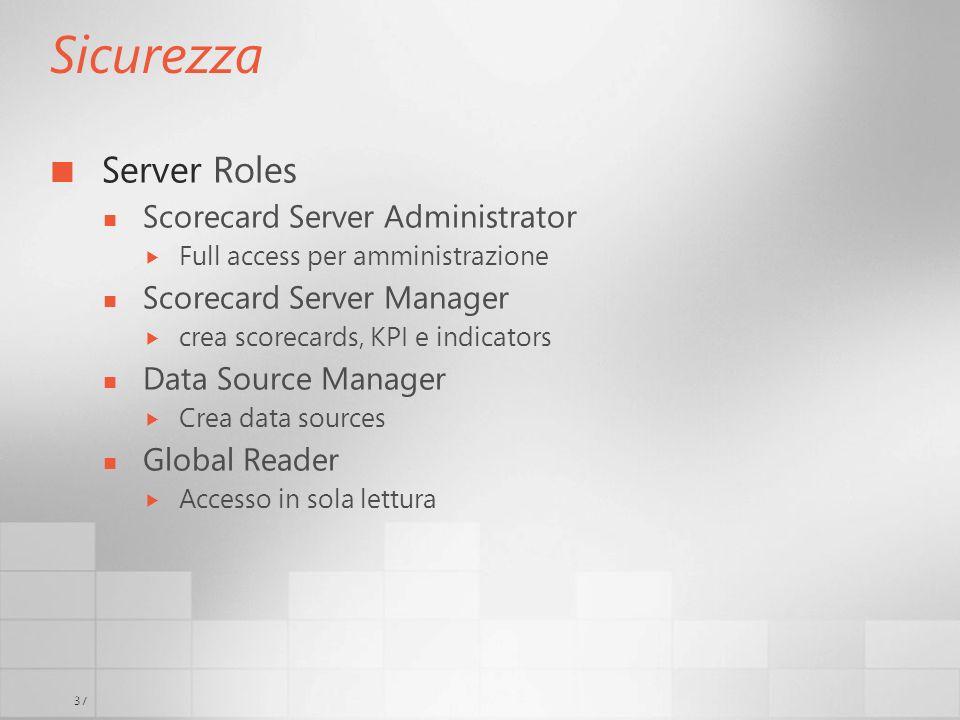 37 Sicurezza Server Roles Scorecard Server Administrator Full access per amministrazione Scorecard Server Manager crea scorecards, KPI e indicators Da