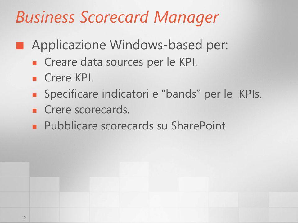 5 Business Scorecard Manager Applicazione Windows-based per: Creare data sources per le KPI. Crere KPI. Specificare indicatori e bands per le KPIs. Cr