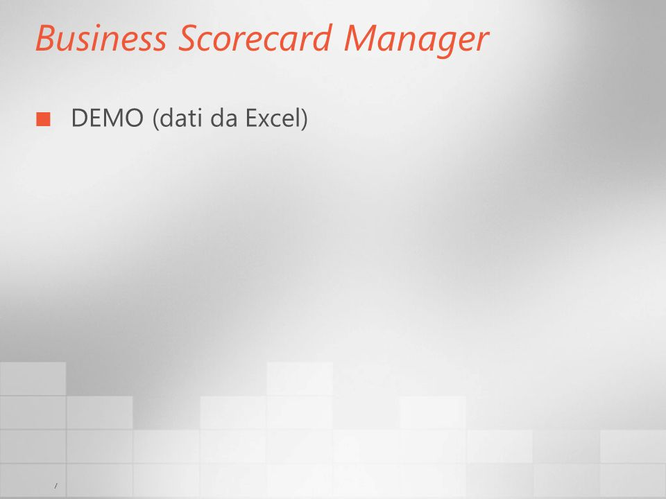 7 Business Scorecard Manager DEMO (dati da Excel)