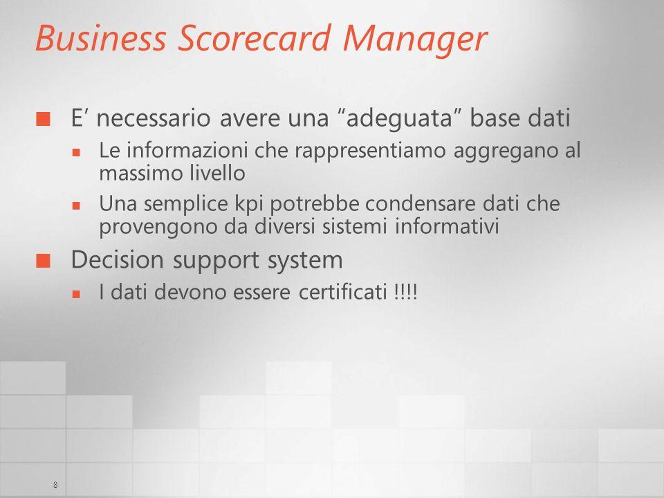 8 Business Scorecard Manager E necessario avere una adeguata base dati Le informazioni che rappresentiamo aggregano al massimo livello Una semplice kp