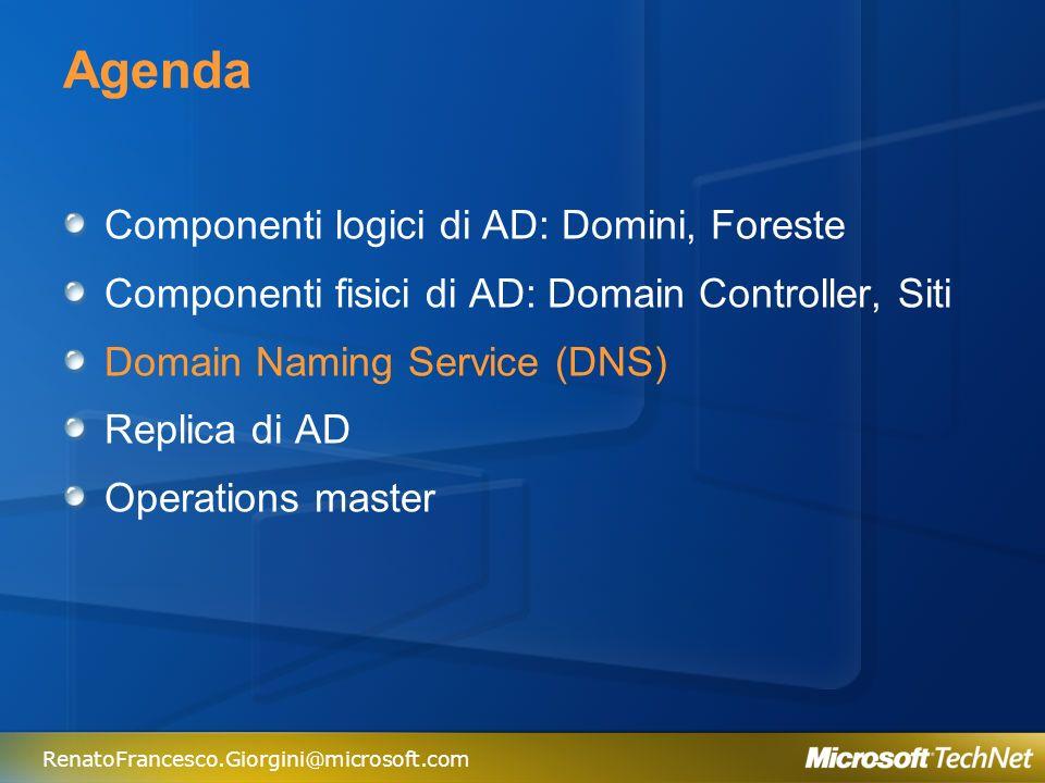RenatoFrancesco.Giorgini@microsoft.com DNS Il Domain Naming System permette di trovare servizi e risorse nella rete Processo di ricerca nel DNS Servizio richiesto Informazioni sul Sito Indirizzi IP Record SVR DC DNS Server Cache