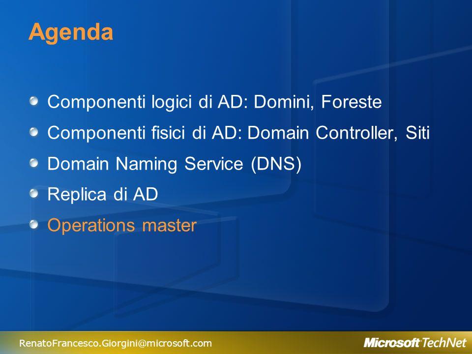 RenatoFrancesco.Giorgini@microsoft.com Operations Masters Eseguono operazioni in modo esclusivo Sono utilizzati per Ruoli specifici di AD Di default, tutti i ruoli sono attivati nel primo Domain Controller installato