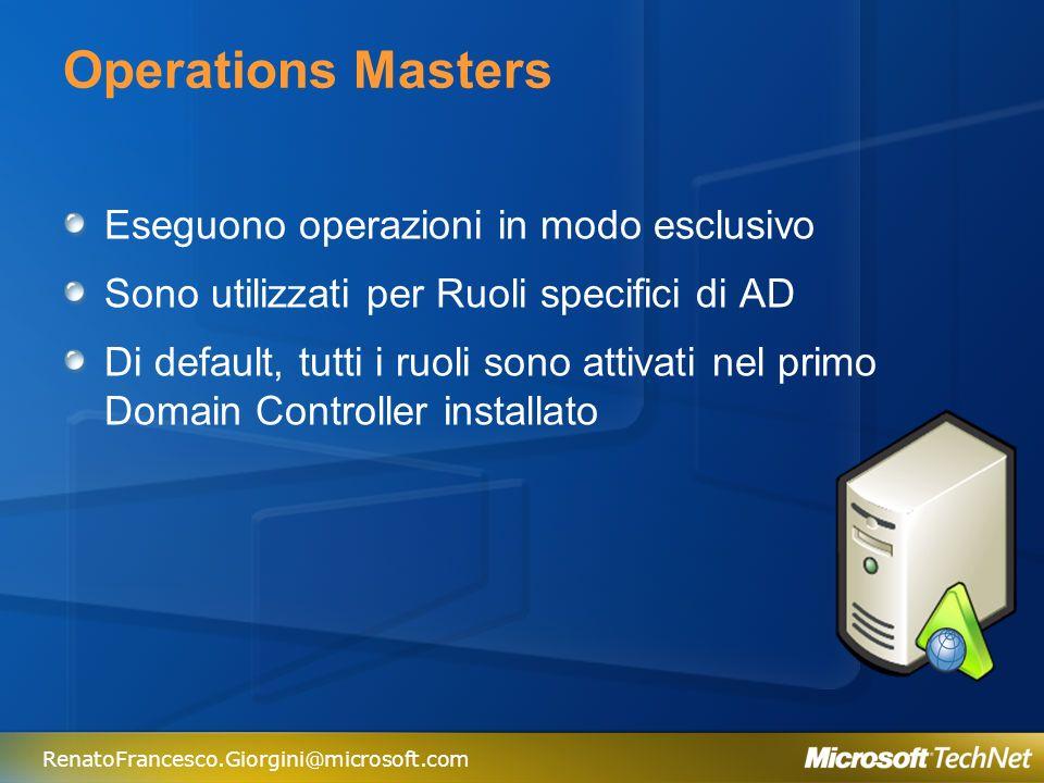 RenatoFrancesco.Giorgini@microsoft.com Ruoli Operations Master Ruoli Dominio Ruoli Foresta PDC Emulator Schema Master Domain Master RID Master Infrastructure