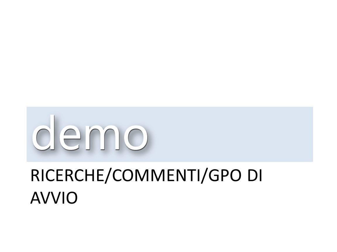 RICERCHE/COMMENTI/GPO DI AVVIO