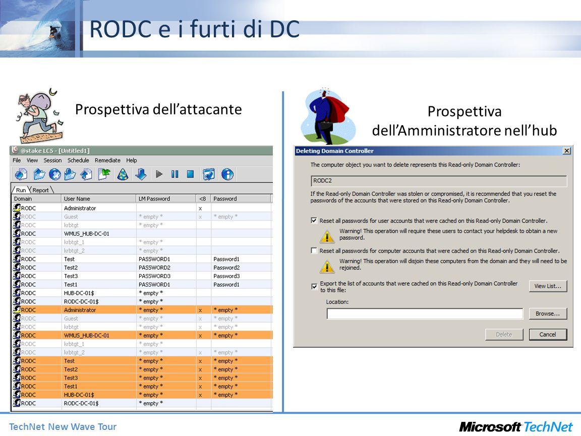 TechNet New Wave Tour Supporto di applicazioni in RODC Supporto pianificato per – ADFS,DNS, DHCP, FRS V1, DFSR (FRS V2), Group Policy, NAP, PKI, CA, IAS/VPN, DFS, SMS, query ADSI, MOM Best Effort – Applicazioni LDAP generiche che supportano write referral Tollerano un errore in scrittura in caso di mancanza di connessioni WAN Disponibile a breve un whitepaper con le linee guida per il supporto di applicazioni con i RODC – Includerà una checklist per verificare la compatibilità di unapplicazione con RODC