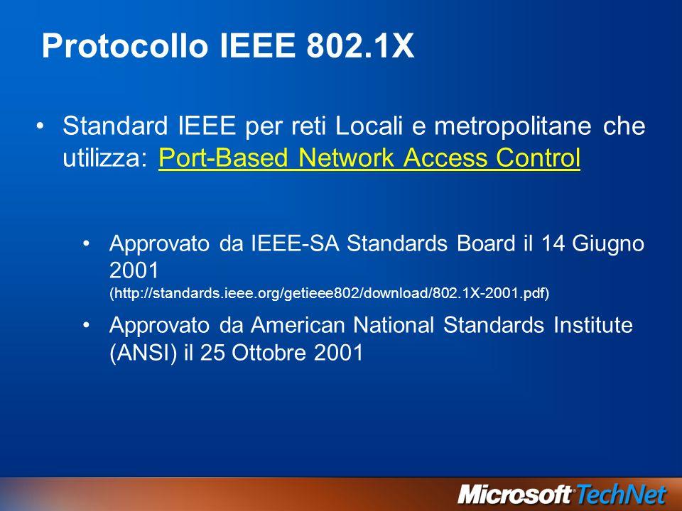 Standard IEEE per reti Locali e metropolitane che utilizza: Port-Based Network Access Control Approvato da IEEE-SA Standards Board il 14 Giugno 2001 (