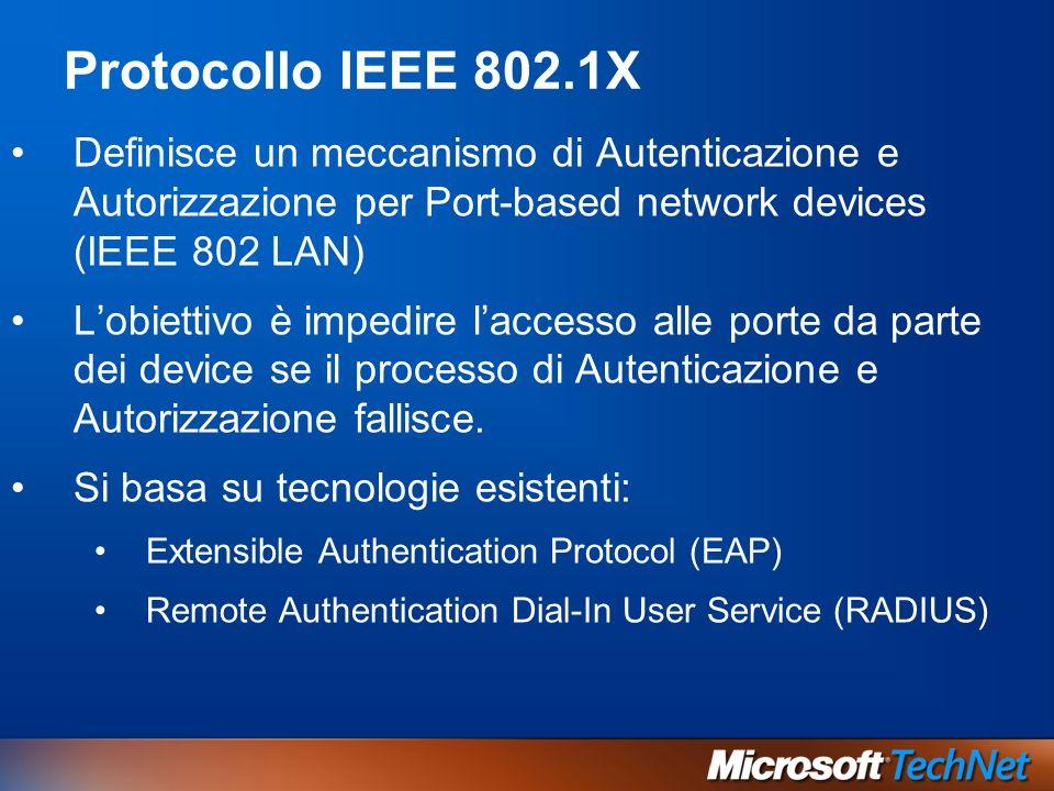 Protocollo IEEE 802.1X Definisce un meccanismo di Autenticazione e Autorizzazione per Port-based network devices (IEEE 802 LAN) Lobiettivo è impedire