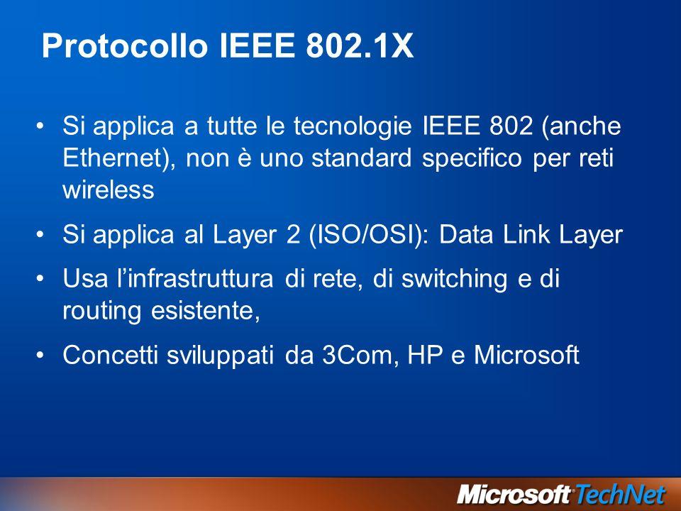 Protocollo IEEE 802.1X Si applica a tutte le tecnologie IEEE 802 (anche Ethernet), non è uno standard specifico per reti wireless Si applica al Layer