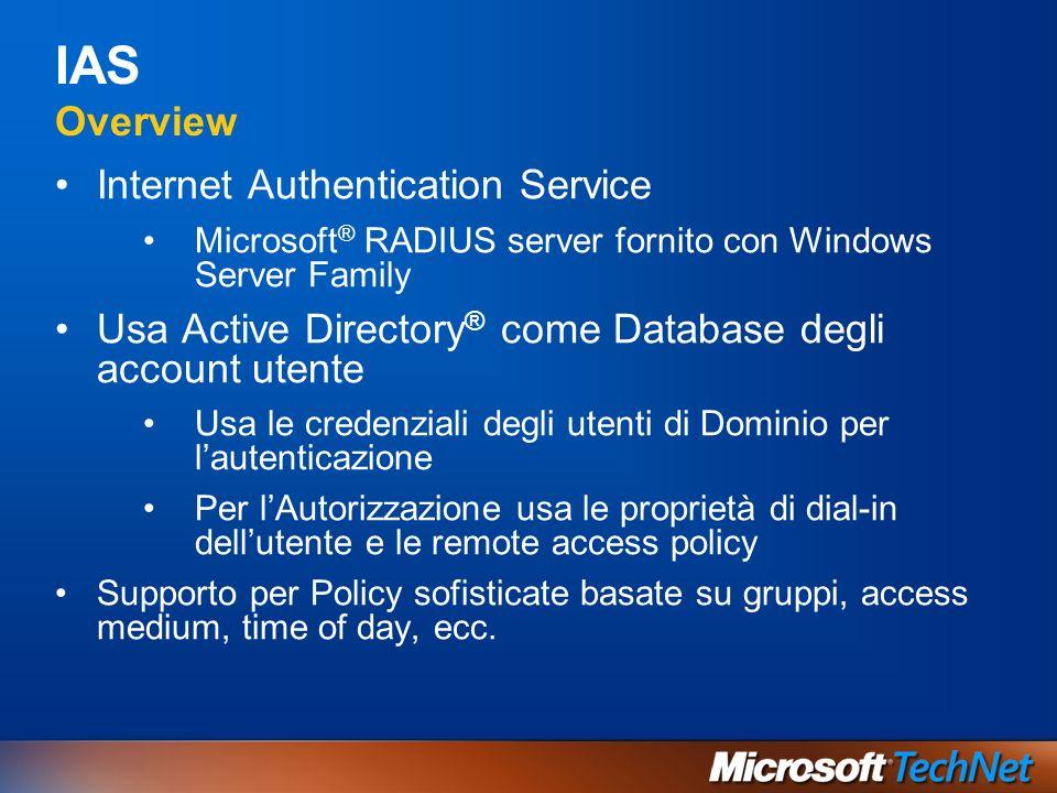IAS Overview Internet Authentication Service Microsoft ® RADIUS server fornito con Windows Server Family Usa Active Directory ® come Database degli ac