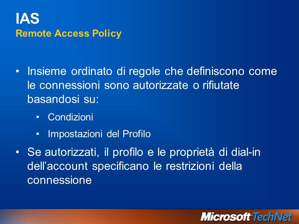 IAS Remote Access Policy Insieme ordinato di regole che definiscono come le connessioni sono autorizzate o rifiutate basandosi su: Condizioni Impostaz