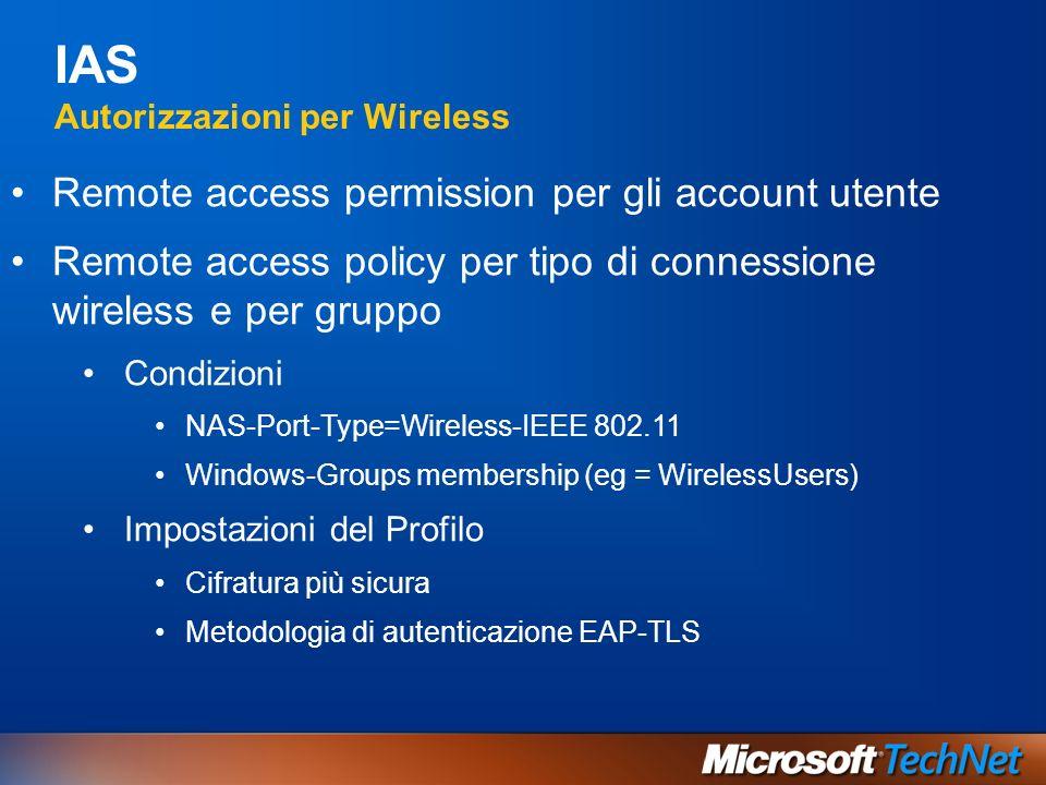 IAS Autorizzazioni per Wireless Remote access permission per gli account utente Remote access policy per tipo di connessione wireless e per gruppo Con