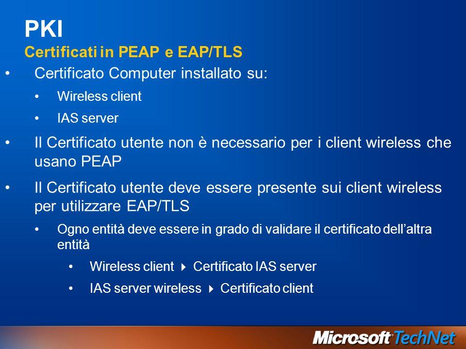 PKI Certificati in PEAP e EAP/TLS Certificato Computer installato su: Wireless client IAS server Il Certificato utente non è necessario per i client w