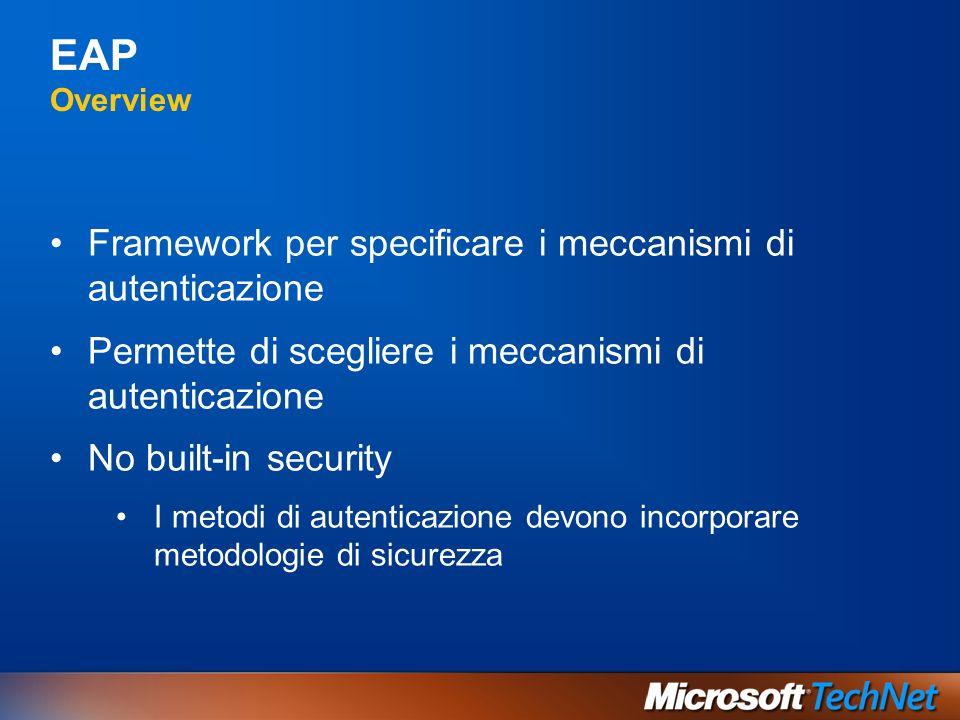 EAP Overview Framework per specificare i meccanismi di autenticazione Permette di scegliere i meccanismi di autenticazione No built-in security I meto