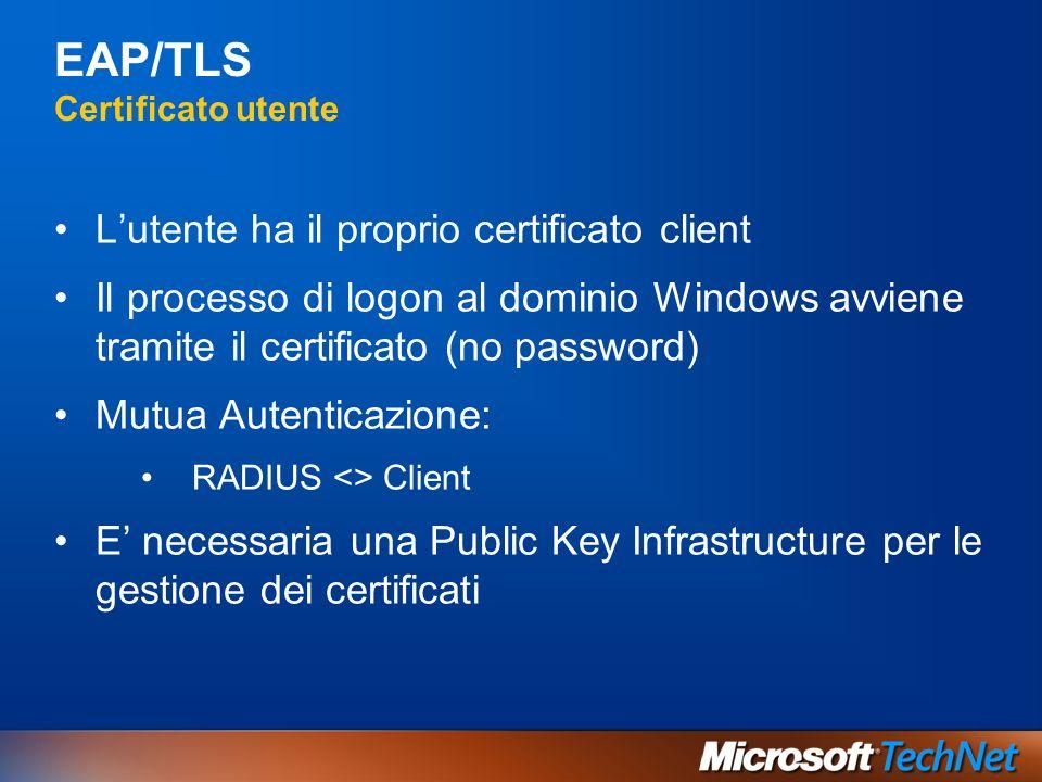 EAP/TLS Certificato utente Lutente ha il proprio certificato client Il processo di logon al dominio Windows avviene tramite il certificato (no passwor