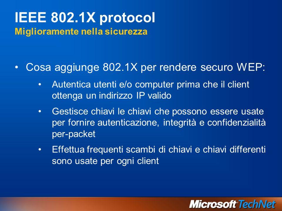 IEEE 802.1X protocol Miglioramente nella sicurezza Cosa aggiunge 802.1X per rendere securo WEP: Autentica utenti e/o computer prima che il client otte