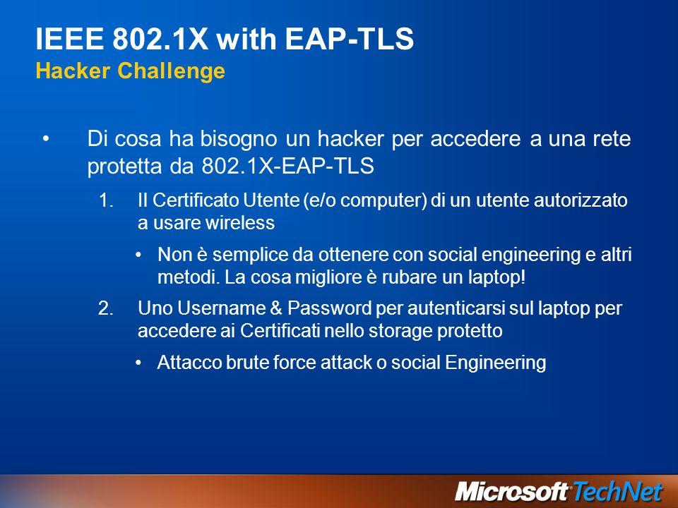IEEE 802.1X with EAP-TLS Hacker Challenge Di cosa ha bisogno un hacker per accedere a una rete protetta da 802.1X-EAP-TLS 1.Il Certificato Utente (e/o