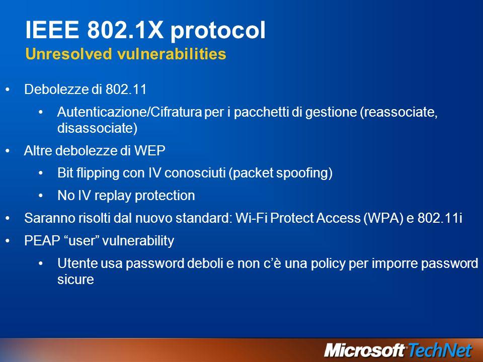 IEEE 802.1X protocol Unresolved vulnerabilities Debolezze di 802.11 Autenticazione/Cifratura per i pacchetti di gestione (reassociate, disassociate) A