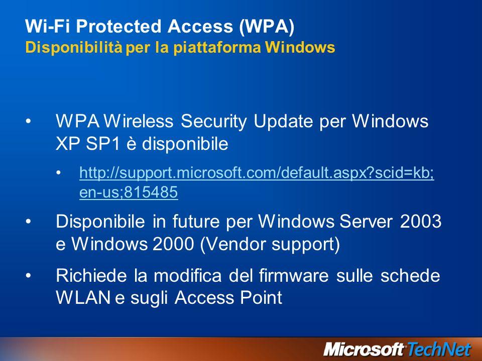 Wi-Fi Protected Access (WPA) Disponibilità per la piattaforma Windows WPA Wireless Security Update per Windows XP SP1 è disponibile http://support.mic