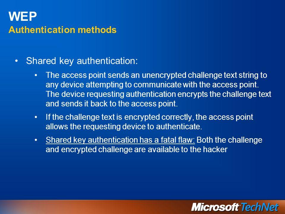 WEP Vulnerabilità WEP può essere decifrata sia nella variante a 40- che in quella a 128-bit, utilizzando tool disponibili in Internet (Airsnort ecc..) Le chiavi WEP statiche possono essere ottenute catturando un numero sufficiente (alcune migliaia) di Pacchetti Deboli (Fluhrer, Martin e Shamir) A seconda del traffico della rete, questo può richiedere da poche ore a molti giorni (stiamo viaggiando a 54 Mbs) Il firmware delle schede WLAN più recenti è progettato per minimizzare la generazione di Pacchetti Deboli Altri attacchi: WEP Dictionary Attack (Tim Newsham wep_crack) Rogue AP Non cè mutua autenticazione.