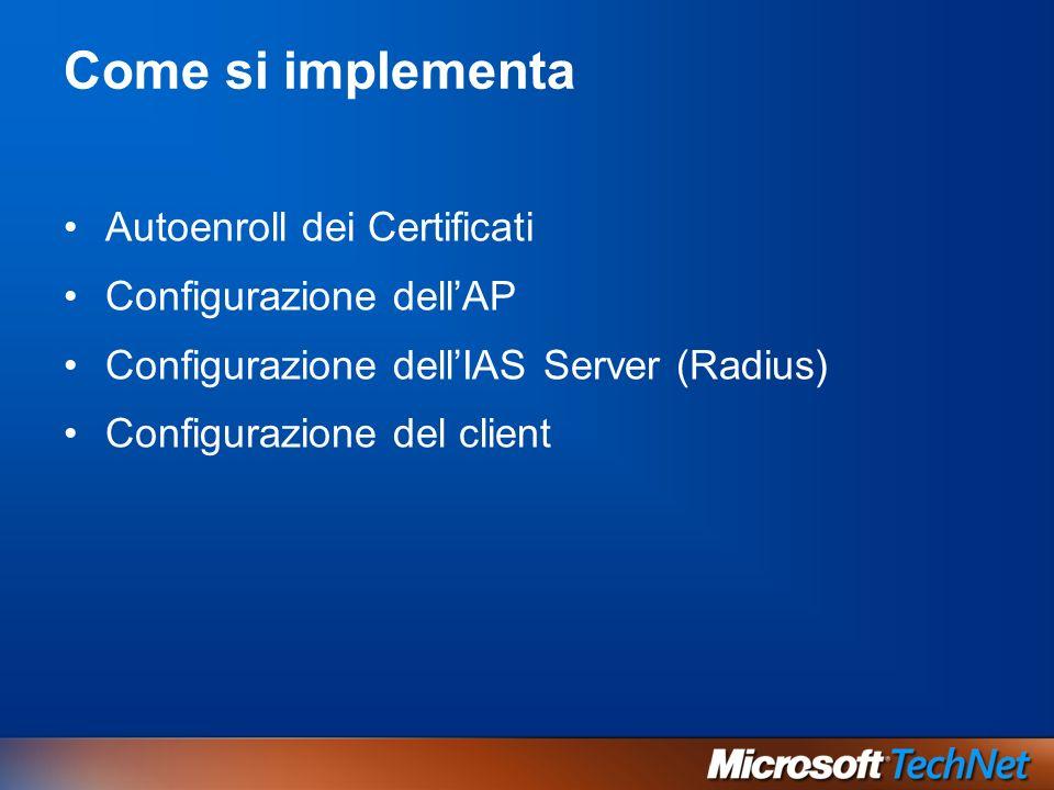 Come si implementa Autoenroll dei Certificati Configurazione dellAP Configurazione dellIAS Server (Radius) Configurazione del client
