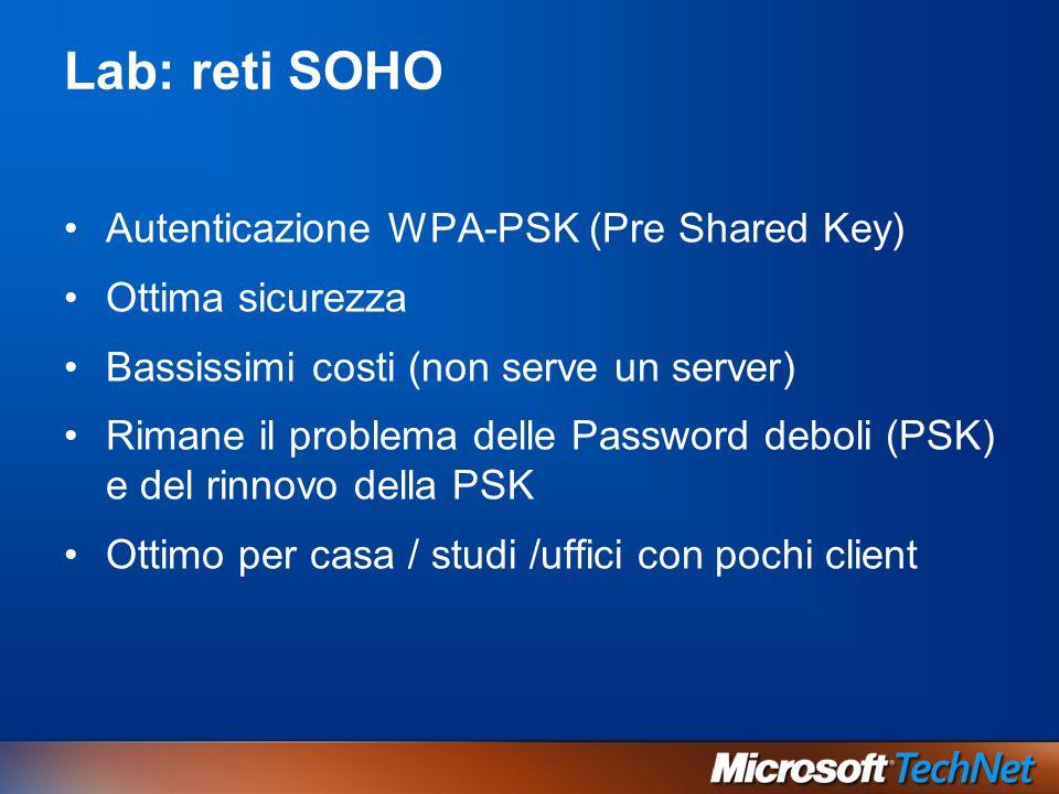 Lab: reti SOHO Autenticazione WPA-PSK (Pre Shared Key) Ottima sicurezza Bassissimi costi (non serve un server) Rimane il problema delle Password debol