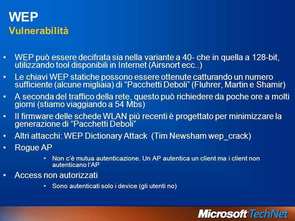 WEP Vulnerabilità WEP può essere decifrata sia nella variante a 40- che in quella a 128-bit, utilizzando tool disponibili in Internet (Airsnort ecc..)