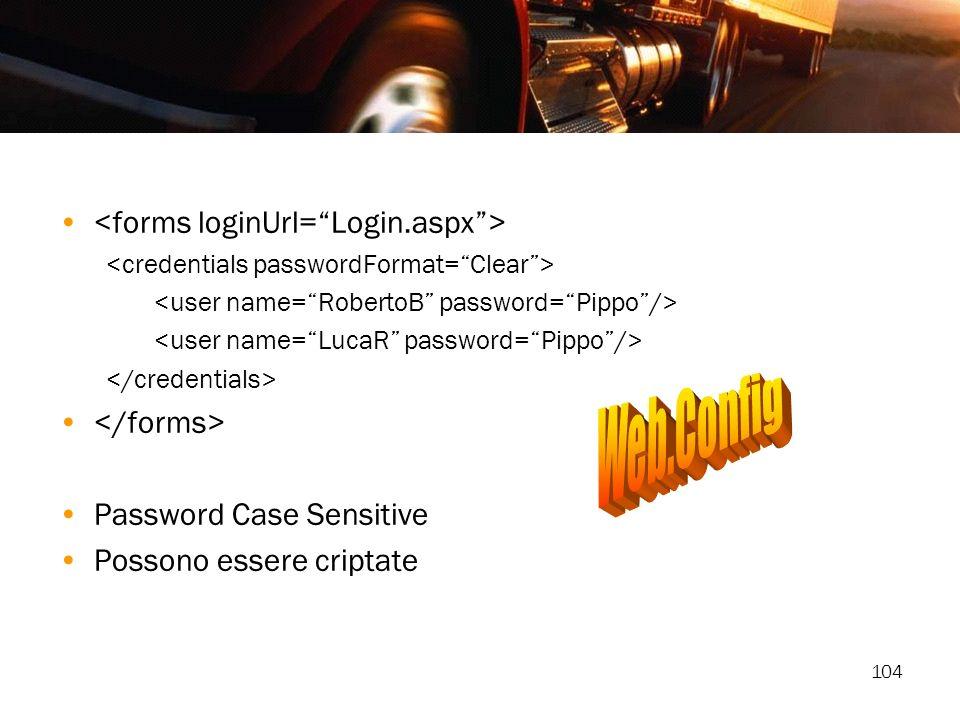 104 Password Case Sensitive Possono essere criptate