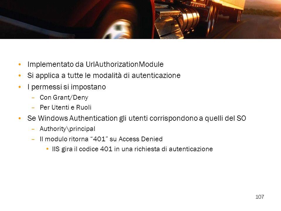 107 Implementato da UrlAuthorizationModule Si applica a tutte le modalità di autenticazione I permessi si impostano –Con Grant/Deny –Per Utenti e Ruol