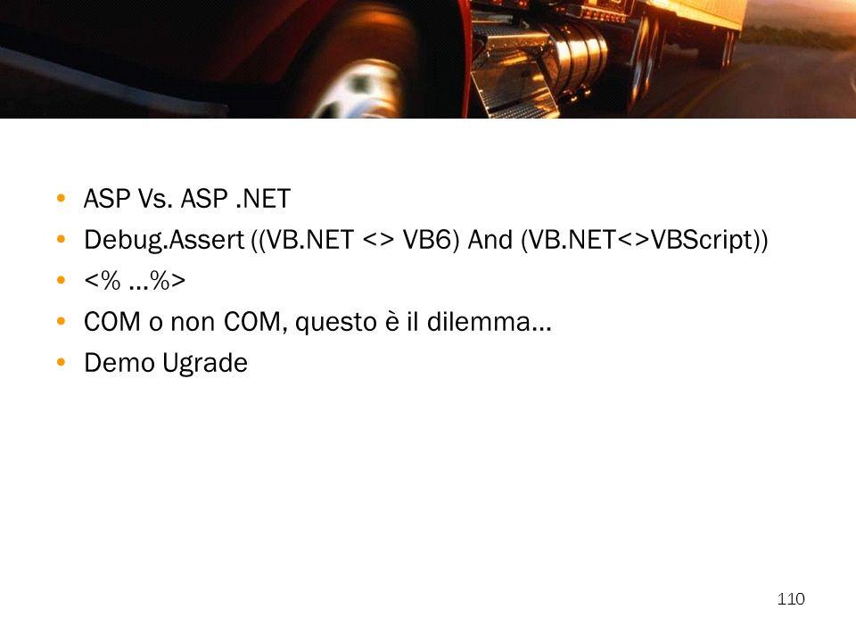 110 ASP Vs. ASP.NET Debug.Assert ((VB.NET <> VB6) And (VB.NET<>VBScript)) COM o non COM, questo è il dilemma… Demo Ugrade