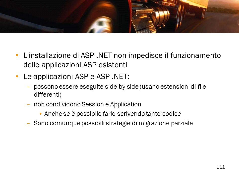 111 L'installazione di ASP.NET non impedisce il funzionamento delle applicazioni ASP esistenti Le applicazioni ASP e ASP.NET: –possono essere eseguite