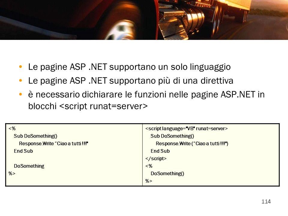 114 Le pagine ASP.NET supportano un solo linguaggio Le pagine ASP.NET supportano più di una direttiva è necessario dichiarare le funzioni nelle pagine