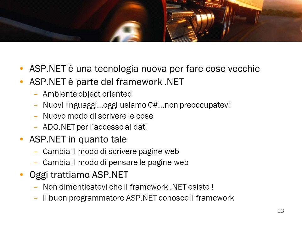 13 ASP.NET è una tecnologia nuova per fare cose vecchie ASP.NET è parte del framework.NET –Ambiente object oriented –Nuovi linguaggi…oggi usiamo C#...