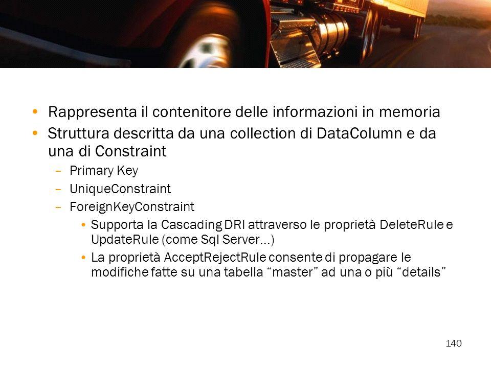 140 Rappresenta il contenitore delle informazioni in memoria Struttura descritta da una collection di DataColumn e da una di Constraint –Primary Key –