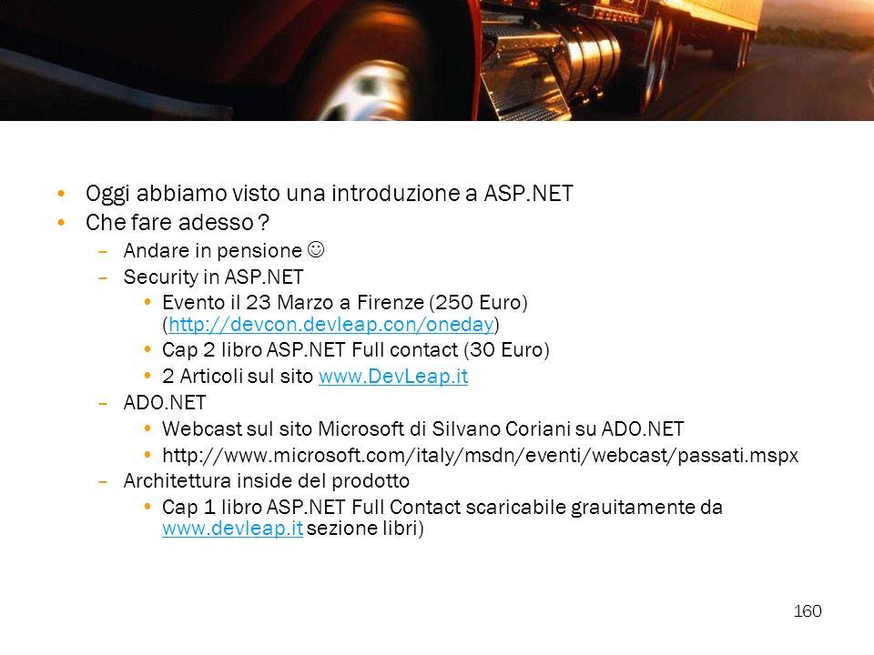 160 Oggi abbiamo visto una introduzione a ASP.NET Che fare adesso ? –Andare in pensione –Security in ASP.NET Evento il 23 Marzo a Firenze (250 Euro) (