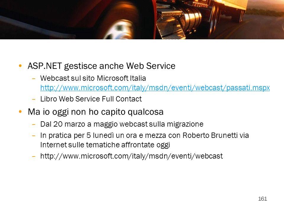 161 ASP.NET gestisce anche Web Service –Webcast sul sito Microsoft Italia http://www.microsoft.com/italy/msdn/eventi/webcast/passati.mspx http://www.m
