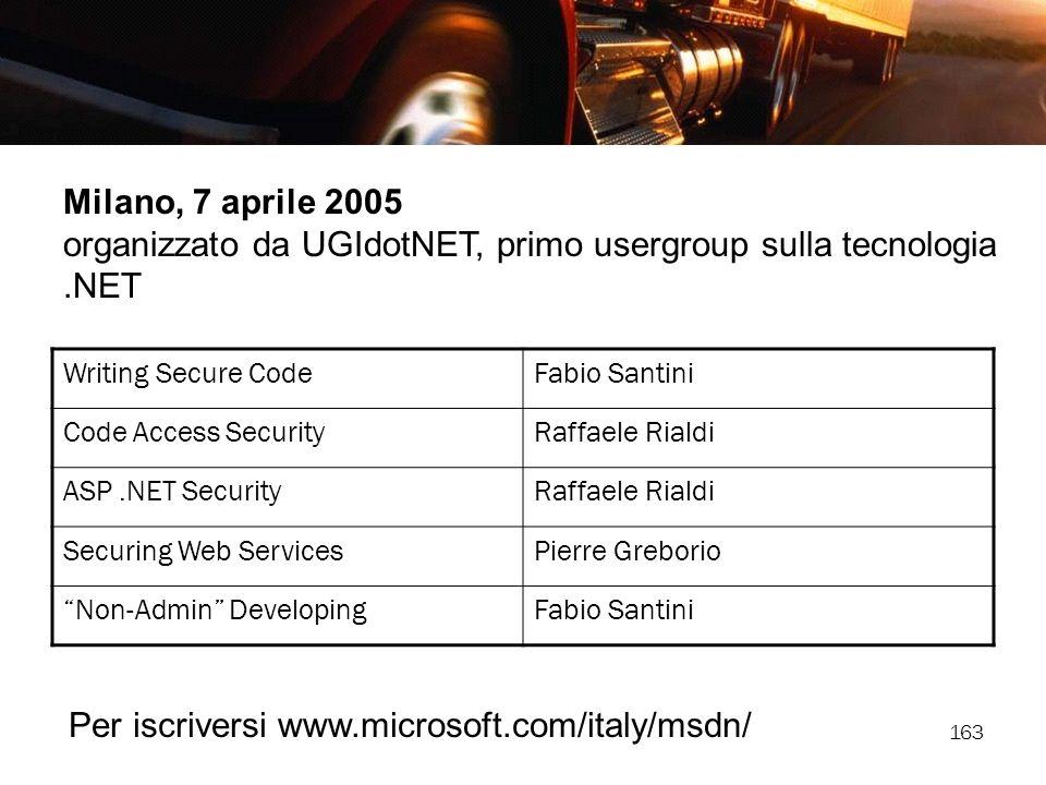 163 Milano, 7 aprile 2005 organizzato da UGIdotNET, primo usergroup sulla tecnologia.NET Writing Secure CodeFabio Santini Code Access SecurityRaffaele