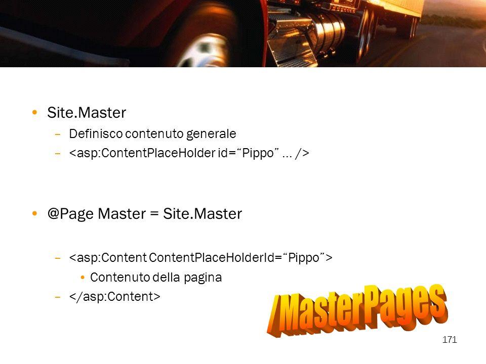 171 Site.Master –Definisco contenuto generale – @Page Master = Site.Master – Contenuto della pagina –