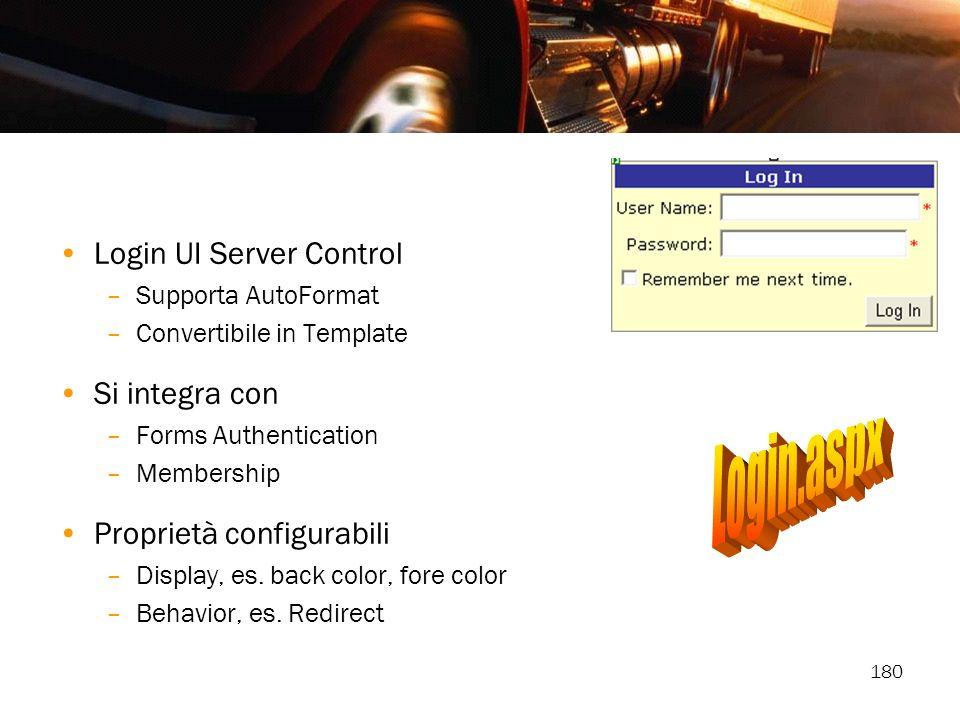 180 Login UI Server Control –Supporta AutoFormat –Convertibile in Template Si integra con –Forms Authentication –Membership Proprietà configurabili –D