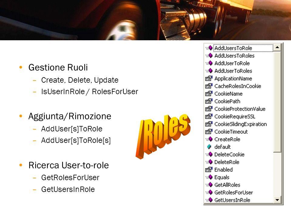 187 Gestione Ruoli –Create, Delete, Update –IsUserInRole / RolesForUser Aggiunta/Rimozione –AddUser[s]ToRole –AddUser[s]ToRole[s] Ricerca User-to-role
