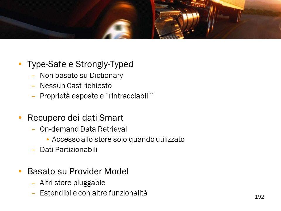 192 Type-Safe e Strongly-Typed –Non basato su Dictionary –Nessun Cast richiesto –Proprietà esposte e rintracciabili Recupero dei dati Smart –On-demand