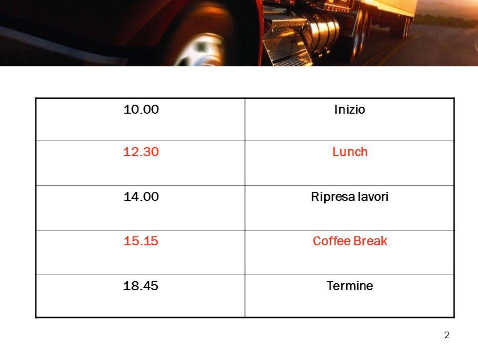 2 10.00Inizio 12.30Lunch 14.00Ripresa lavori 15.15Coffee Break 18.45Termine