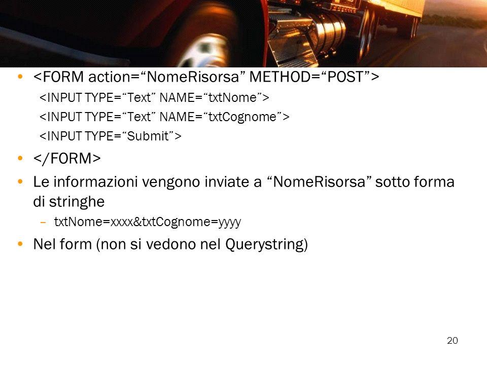 20 Le informazioni vengono inviate a NomeRisorsa sotto forma di stringhe –txtNome=xxxx&txtCognome=yyyy Nel form (non si vedono nel Querystring)
