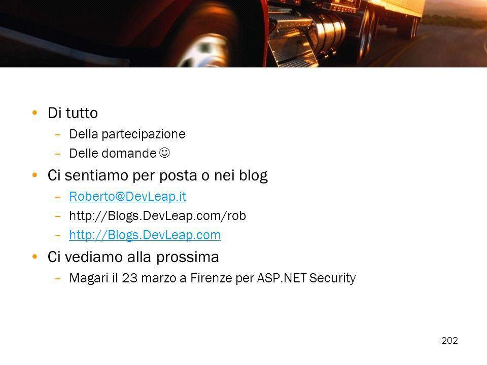 202 Di tutto –Della partecipazione –Delle domande Ci sentiamo per posta o nei blog –Roberto@DevLeap.itRoberto@DevLeap.it –http://Blogs.DevLeap.com/rob